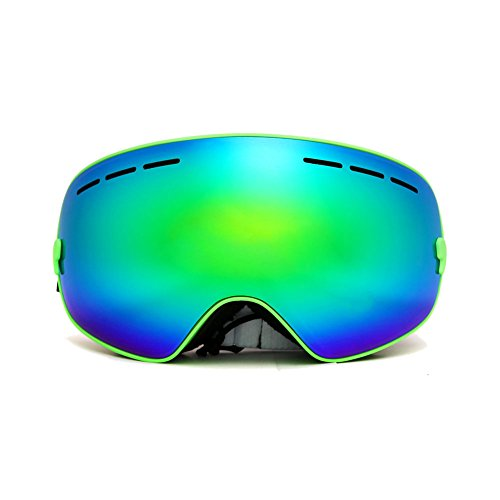 iecool Spherical Dual Lenses Anti-Fog Professional Ski Goggles Green