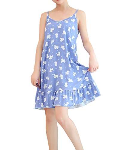 MyFav Comfy Youth Girl Pajama Kawaii Dog Nightdress Sleeveless Pleated Nightgown, Blue, Medium