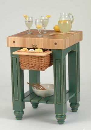 American Heritage Prep Table with Butcher Block Top Base Finish: Natural Maple