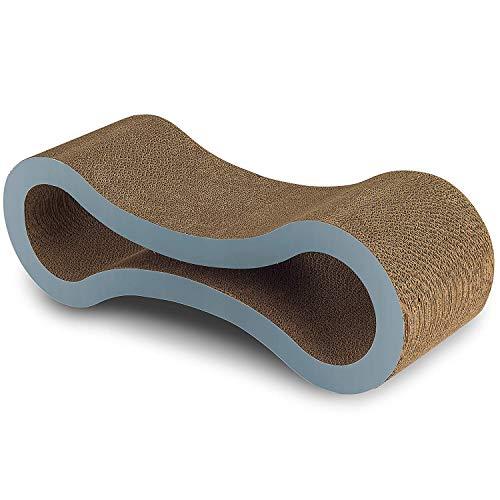 HIEMAO Cat Scratcher Lounge Pad, Pet Ultimate Kitten Toy Cardboard Furniture Construction with Catnip