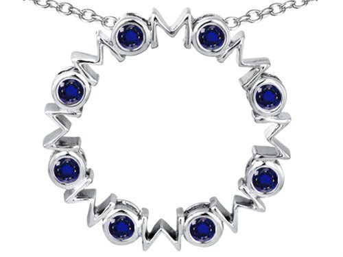 Star K Large MOM Circle Mother's Pendant Necklace with Round Created Sapphire Sterling Silver (Sapphire Necklace Circle Pendant)