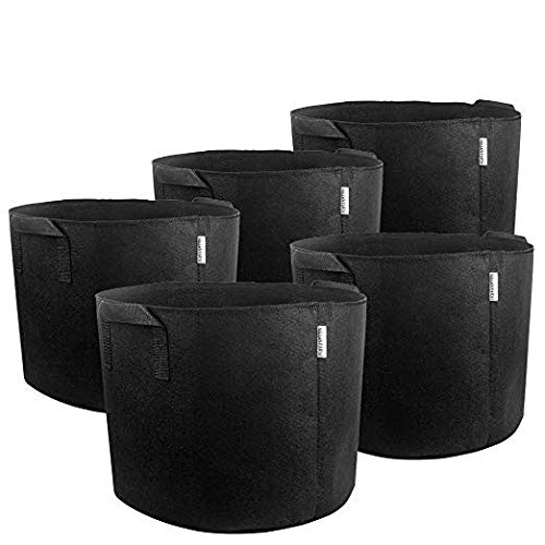 MELONFARM 5-Pack 7 Gallon Plant Grow Bags - Smart Thickened Non-Woven Aeration Fabric Pots Container with Strap Handles for Garden and Planting