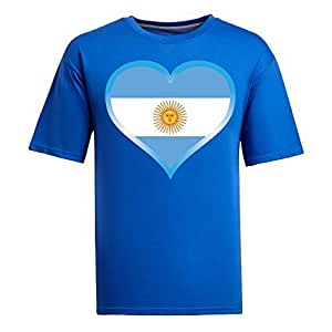 Brasil 2014 FIFA World Cup Mens Football Background Short Sleeve Cotton T-shirt for Fans blue