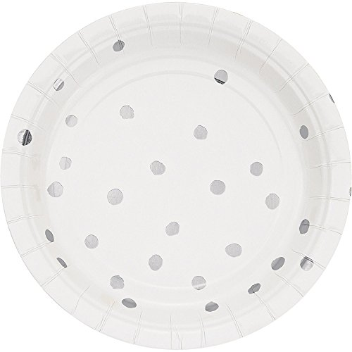 Creative Converting 329936 96-Count Small/Dessert Paper Plates, Touch of Color White Silver Foil
