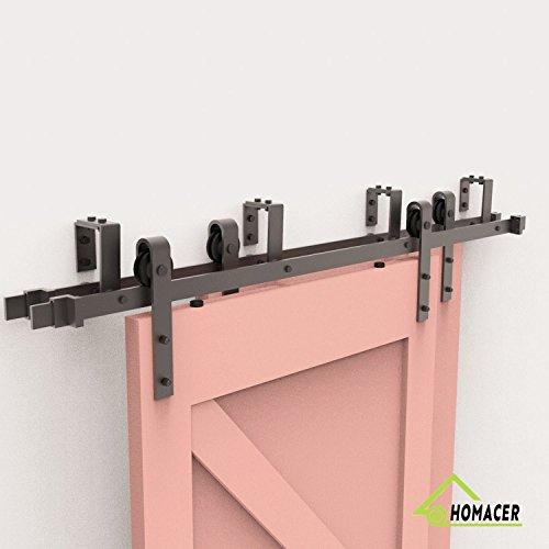 HOMACER Bypass Sliding Barn Door Hardware Kit, 5.5FT Track, ClassicDesign U Bracket,BlackRusticwithIndustrialStrengthHangers,PerfectforGarage,Closet,InteriorandExteriorDoorUse by HOMACER