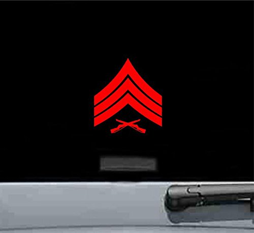 (JS Artworks USMC E 5 Sergeant Rank Insignia Rank Military Army Us Marines Corp Vinyl Decal Sticker (RED))