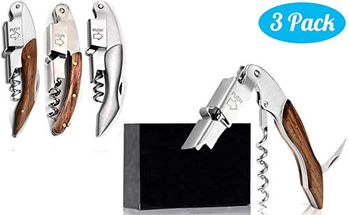 Professional Wine Opener Set of 3 Packs for Bartenders Waiters and Sommeliers in Bar,With RoseWood-Alloy Handle Waiters Corkscrew,All-in-one Bar Wine Bottle Opener Tool Wine Keys
