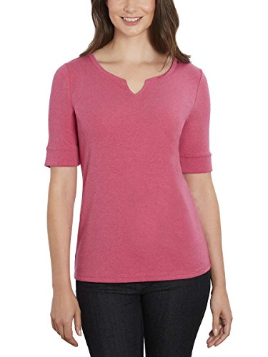 - Ellen Tracy Women's Pima Cotton/Lycra V-Neck Cuff Sleeves T-Shirt (M, Raspberry)