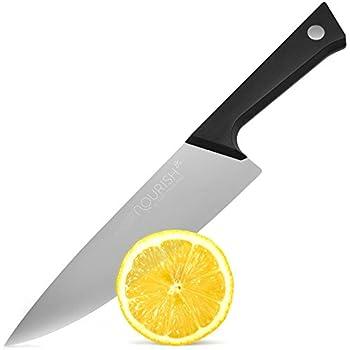 German Steel Professional Chef Knife, by Nourish, Ergonomic Handle, Durable Kitchen Knives w/ Balanced Design