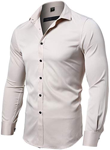 (FLY HAWK Mens Fiber Casual Button Up Slim Fit Collared Formal Shirts, Beige Button Down Shirt)