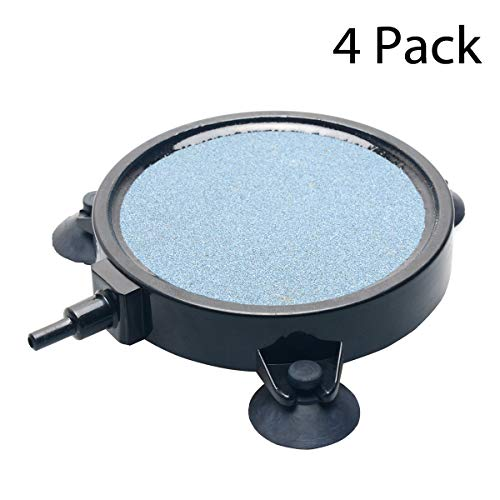 Pawfly 4 Inch Air Stone Disc Bubbler for Aquarium Hydroponics Fish Tank Air Pump - 4Pack