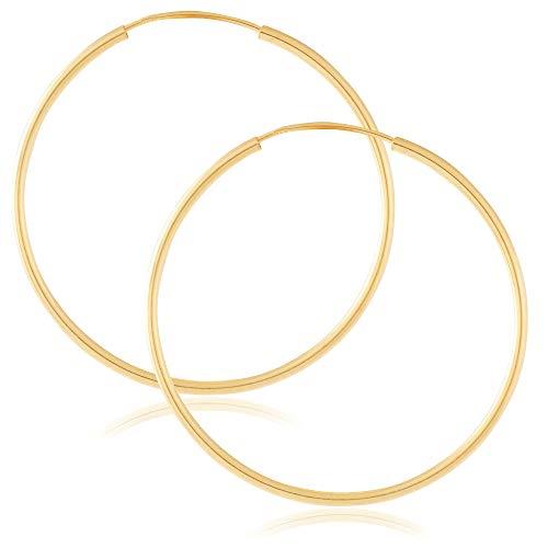 (14k Yellow Gold Women's Endless Tube Hoop Earrings 1mm-1.5mm Thick 10mm - 60mm Diameter)