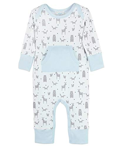 Feather Baby Boys Clothes Pima Cotton Long Sleeve Kangaroo Pocket Footless Jumpsuit Coverall -