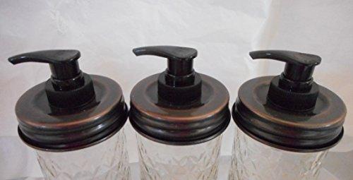 Antique Copper Lid With Black Pump Triple Pack - Mason Jar Lotion/Soap dispenser Lid