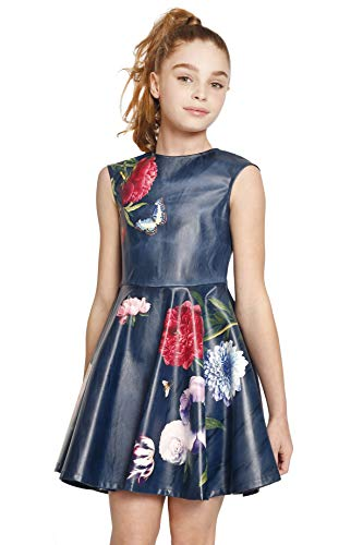 Hannah Banana, Big Girls' Special Occasion Sleeveless Skater Dress in Floral Print Faux Leather, Size 7-16 (Navy Floral, 7)