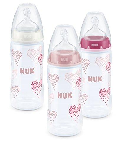 Nuk Silicone Spout FC Plus PP Baby Bottle 300 ml (3pcs Set) Pink (Nuk Bottles Girl)