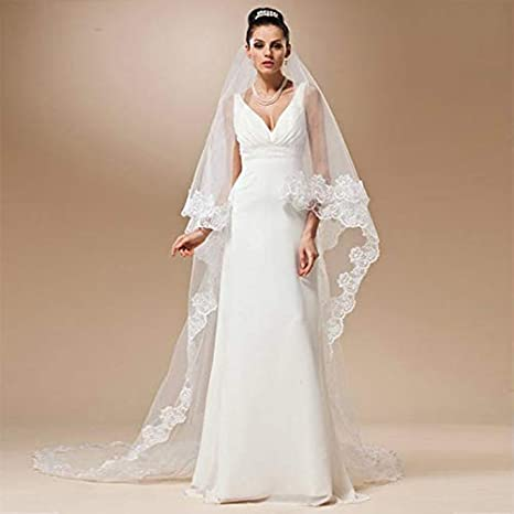 Lace Cathedral Wedding Veil Single Layer Long Bridal Veil with Lace Edge 1.5m//3m//5m
