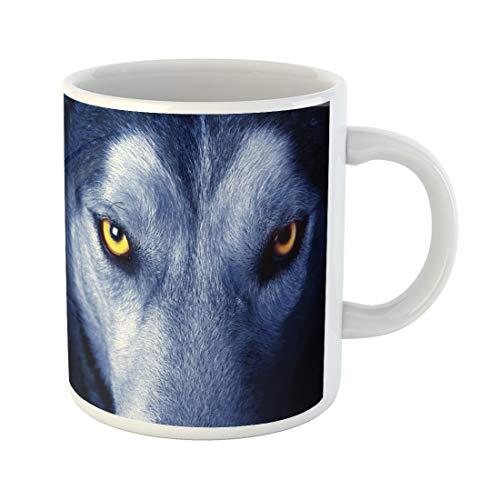 Threats Gray Wolf - Semtomn Funny Coffee Mug Yellow Head Beautiful Eyes of Wild Wolf Gray Animal 11 Oz Ceramic Coffee Mugs Tea Cup Best Gift Or Souvenir