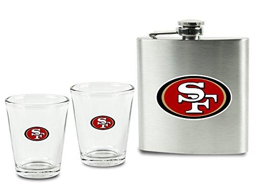 (San Francisco 49ers Shot Glasses & Brushed Stainless Steel Flask Set)