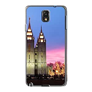 ErleneRobinson Samsung Galaxy Note 3 High Quality Hard Phone Cover Support Personal Customs Trendy Mormon Temple At Christmas Series [aNt5957CafR]
