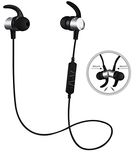 Cheap SOWAK Bluetooth Headphones,w/Mic Bluetooth 4.1 Headsets Richer Bass HiFi Stereo Magnetic In-Ear Earphones,Best Phones Wireless Earbuds Noise Canceling Waterproof Sport 8 Hrs for Gym Running (Silver)