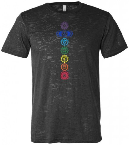 Yoga Clothing For You Mens Colored Chakras Burnout Tee Shirt, XL Black
