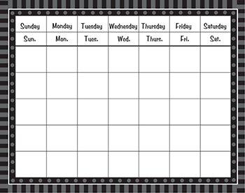 Teacher Created Resources 74800 Black Sassy Solids Calendar Grid (Sassy Calendar)