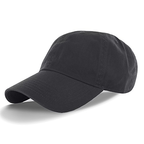 Plain 100% Cotton Hat Men Women Adjustable Baseball Cap (30+ Colors) Charcoal, One Size - Low Profile Golf Visor