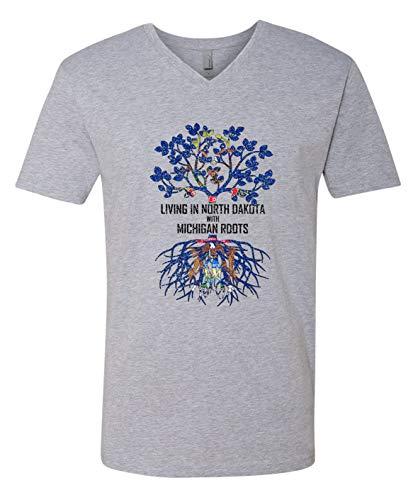 Tenacitee Men's Living in North Dakota with Michigan Roots V Neck T-Shirt, Large, Heather Grey from Tenacitee