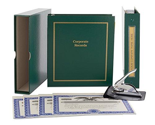 Corporate Kit (Green) - Binder, Slipcase, Minutes & Bylaws, Stock Certificates, Index Tabs & Metal Corporate Seal