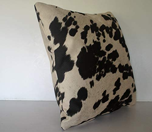 Faux Animal Cowhide Throw Pillow Black and White for Sofa Living Room 24×24