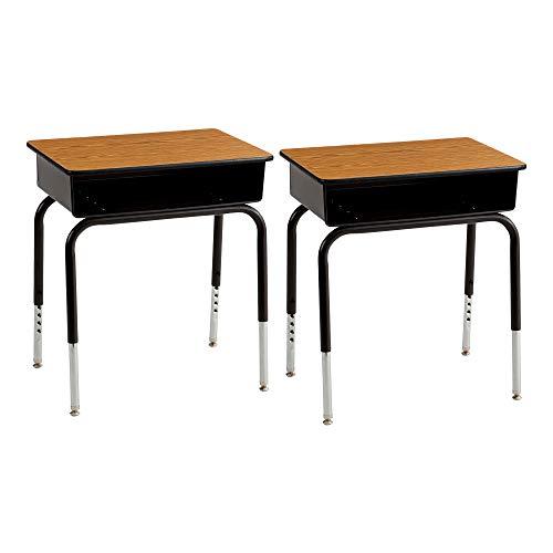 Adjustable Height Open Front Desk - Fat Catalog ALT-24101 Adjustable-Height Open Front School Desk w/ Metal Bookbox - Oak/ Black (Pack of 2)