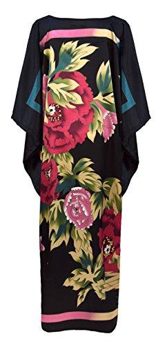 Kimono vestido de interior para mujer estilo boubou - bata elegante y cómodo talla unica negro