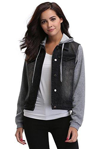 MISS MOLY Women's Paneled Drawstring Hoodie Denim Jacket With Pockets Black Jacket M