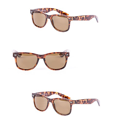 Mass Vision 3 Pair of Classic Wayfarer Full Reading Sunglasses - Outdoor Reading Sunglasses NOT Bifocals - Soft Pouches Included (Tortoise/Tortoise, - Vision Sunglasses Mass