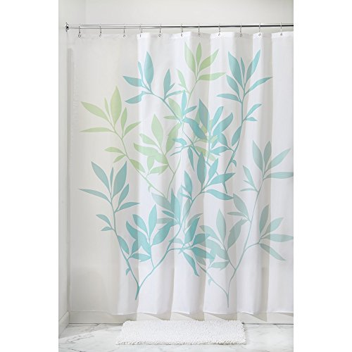 InterDesign Leaves Fabric Shower Curtain 72 x 72, Blue/Green