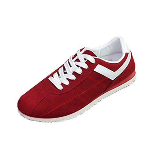 Sikye Herren Freizeitschuhe Flock Striped Leichte Sportschuh Fashion Lace-up Sneaker rot