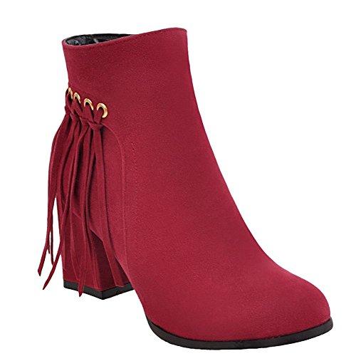 Carolbar Women's Western Concise High Heel Tassels Zip Short Boots Red YtKh1jXO