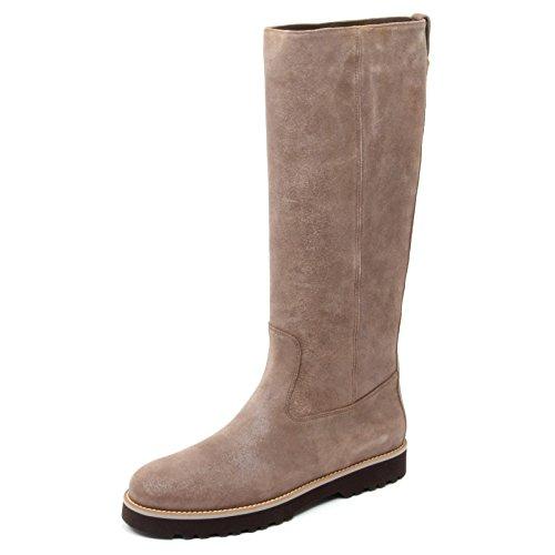 B8527 stivale alto donna HOGAN H259 ROUTE scarpa beige scuro boot shoe woman beige scuro