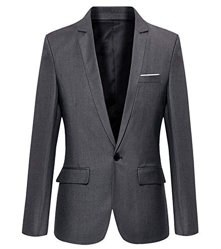 Mens Slim Fit Casual One Button Blazer Jacket (302 Grey, XL)
