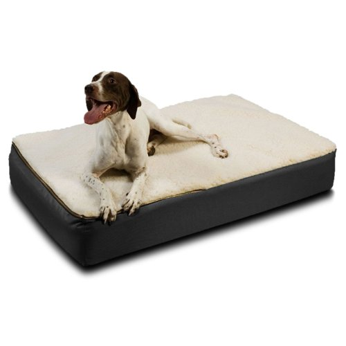 Snoozer Large Super Orthopedic Senior Dog Bed, Black with Cream Sherpa by Snoozer
