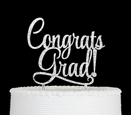 Graduation Announcements Contemporary (GrantParty Silver Congrats Grad Cake Topper | Graduation Cake Toppers 2018 | Graduation Party Supplies 2018 | Class of 2018 Party Supplies)