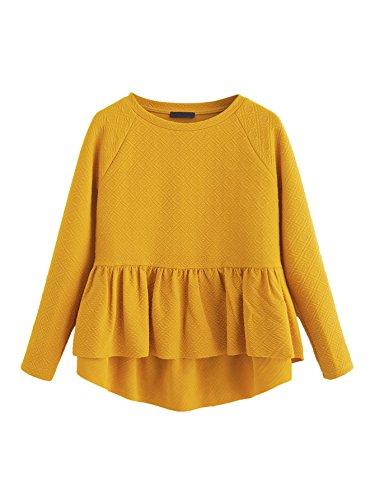 SheIn Women's Loose Round Neck Raglan Long Sleeve Ruffle High Low Hem Smock Top Yellow Large