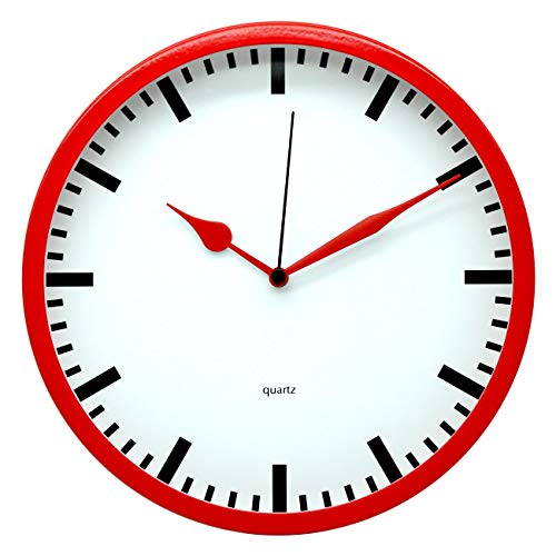 Comodo Casa Products Metal Wall Clock,Glass Cover,Silent Non-Ticking- 10 Inch Quality,Modern Design (Red)