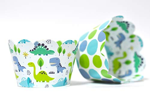 Dinosaur Cupcake Wrappers for Boys and Girls Birthday Parties, Jurassic or Roar themed parties. Set of 24 Reversible colorful dinosaur, polka dot pattern Cup Cake Holder Wraps. Blue, mint