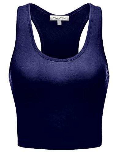 Basic Stretch Sleeveless Racerback Crop Short Tank Tops, Navy, L