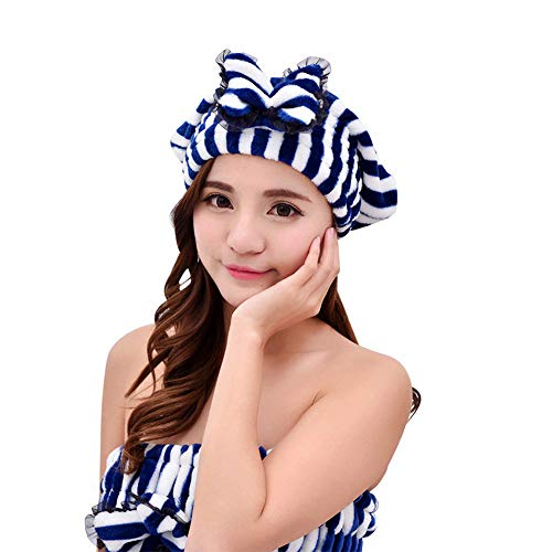 Shower Cap, Bath Cap Designed for Women Layer-Large Enough for Most Hair Lengths and Thicknesses(Vertical stripes) by WLFY