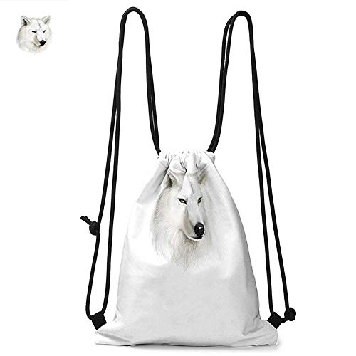 Wolf Easy to carry drawstring backpac White Canine Head with Great Detail Hunter Mammal Wildlife Nature Scene Art Durable Drawstring Backpack W13.8 x L17.7 Inch Black Beige Yellow (Hannah Montana Best Scenes)