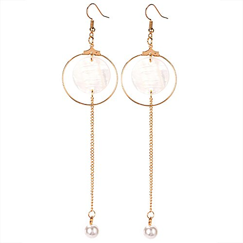 - VEINTI+1 Korean Style Simple Geometry Design with Long Pendant Ear Clips/Earrings for Women's Accessories (Ear Hook)
