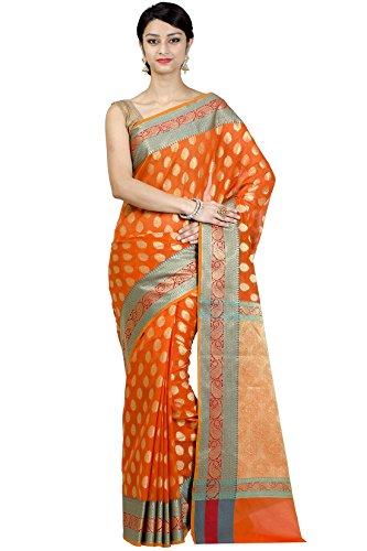 Chandrakala Women's Peach Banarasi Cotton Silk Saree